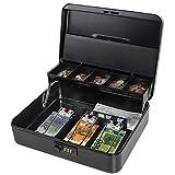 Parrency Caja de caudales grande con compartimento para dinero, cierre de seguridad, compartimento para monedas, 3 bills/5 monedas, grande, color negro