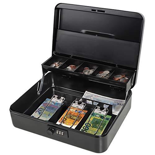 Parrency Große Geldkassette mit Geldfach, Sicherheitsverschluss, freitragendes Münzfach, 3 Bills/5 Münzen Large Schwarz