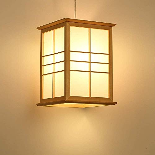 TJLSS Lámpara Colgante de Techo de Sombra de pergamino de Madera Maciza Simple Japonesa Iluminación Restaurante Interior Café Sala de Estar Cocina Pasillo Decoración E27 Araña