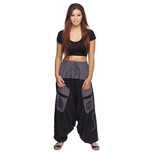 Simandra Haremshose Pumphose Aladinhose Pluderhose Yoga Goa Sarouel Baggy Aladin Freizeithose Damen (Grau, L/XL)