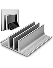 Geecol Double Adjustable Vertical Laptop Stand- Updated Version 2 Slot Aluminum Desktop Dual Holder for All MacBook/Chromebook/Surface/Dell/iPad Up to 17.3 Inches - Silver