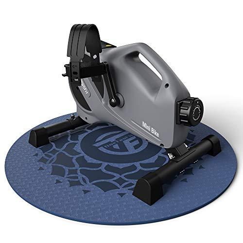 ONETWOFIT Pedales Estaticos, Mini Bicicleta de ejercicio con 8 niveles de resistencia con Esterilla de Meditación, Ejercitador de Pedal Portátil para Piernas y Brazos, Ciclismo con pantalla LCD OT233