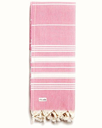 Captain&Mermaid® Premium Strandtuch aus 100% Baumwolle Oeko-TEX® | Badetuch | Handtuch | Yoga | Peshtemal | Sauna Tuch | Hamam Tuch | leicht, dünn & extra saugstark (Rosa)