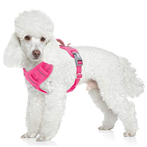 BARKBAY No Pull Dog Harness Front Clip Heavy Duty Reflective Easy Control Handle for Large Dog Walking with ID tag Pocket(Pink,S)