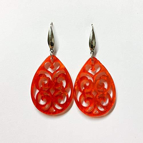 Große Tropfen Ohrringe/Ohrstecker mit Ornament aus Resin (Kunstharz) in Rot mit Edelstahl