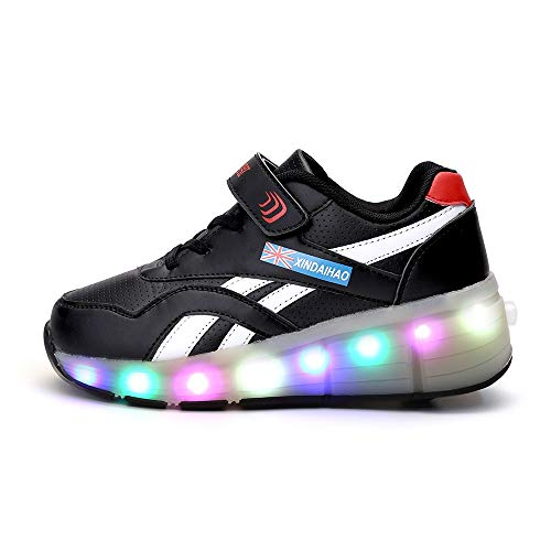 LHZHG Unisex Skateboard Schuhe Rollschuh Schuhe Einzelrad Rollenschuhe LED-Skateboard Lichter blinken Schuhe Räder Schuhe Turnschuhe mit USB-Lade Laufschuhe Sportschuhe Blinken Skateboardschuhe