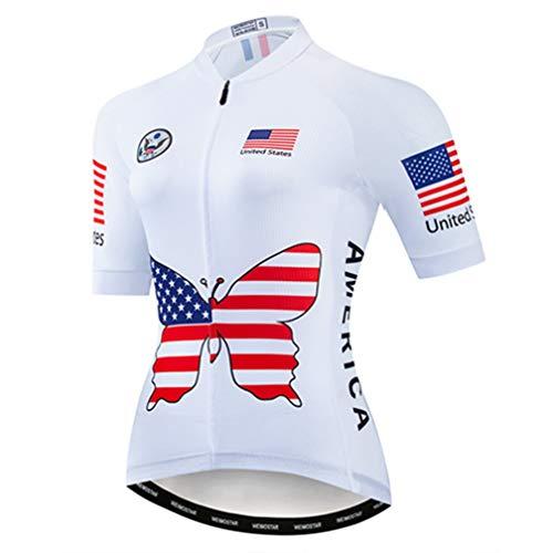 Radtrikot Damen Bike Jersey MTB Fahrrad Shirt Team Racing Tops, USA Weiß, Mittel