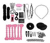 Set de 20Donut Moño Pelo Diseño De Moda Accesorios para eléctrica Pads Horquillas hairabands Clips Donut eléctrica pelo trenzado herramienta Kit para damas niñas DIY Magic pelo Twist estilo Set