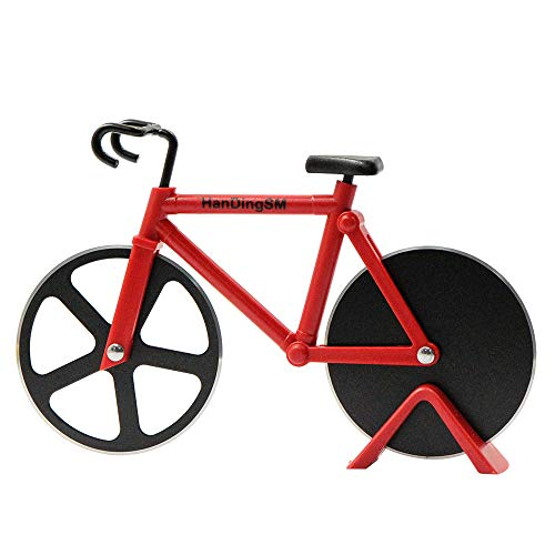 Bicycle Pizza Cutter Wheel, Bike Pizza Slicer Dual Stainless Steel Non-stick Cutting Wheels With a Stand best for Holiday Vacation Housewarming Cool Kitchen Gadget Cool Men's Gift