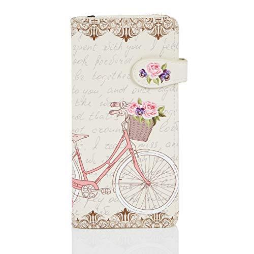 Shagwear ® Portemonnaie Geldbeutel Damen Geldbörse Mädchen | Bifold Mehrfarbig Portmonee Designs: (Paris Fahrrad/Paris Bike Beige)