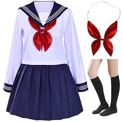 Klassisches, japanisches Schulmädchen Matrosenkleid Hemden Uniform Anime Cosplay Kostüme mit Socken Set - Weiß - XXS
