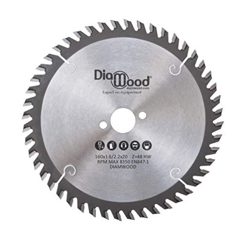 DIAMWOOD EXPERT EN EQUIPEMENT - Lame de scie circulaire portative fine HM universelle D. 160 x Al. 20 x ép. 2,2/1,6 mm x Z48 Alt pour bois