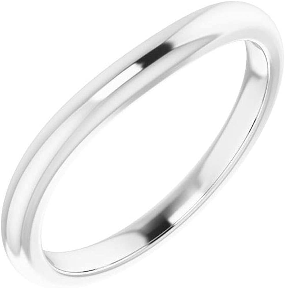Seattle Mall Tarnish Resistant Solid 925 Sterling Notched Silver Weddi Curved In stock