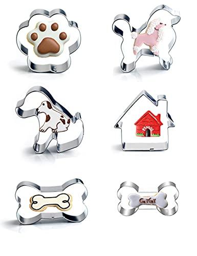 Hundeknochen-Ausstecher-Set mit 6 Stück - einschließlich Hundeknochen, Pfotenabdruck, Welpen, Pudel und Hundehaus-Ausstechformen, niedliche Edelstahl-Keksausstecher Fondant-Kuchenformen für Kinder