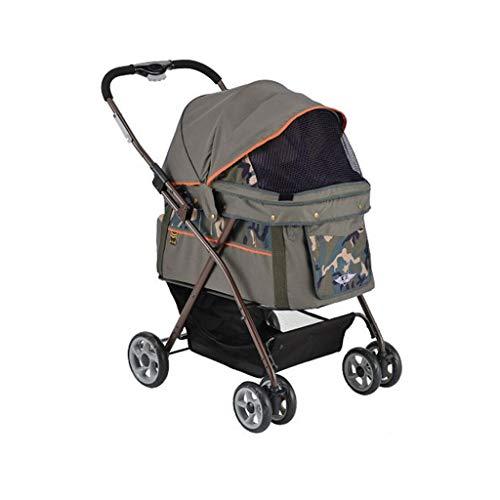 KKCD-Pet Stroller Pet kinderwagen hond/kat Cart regenproof afneembare dierensportwagen draagvermogen 20 kg troller. Huisdier-kinderwagen bruin