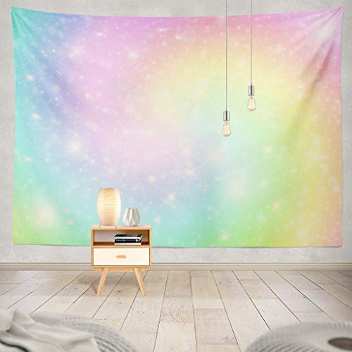 Pakaku Watercolor-Mermaid Decorative Tapestry Unicorn Pastel Sky with Rainbow Abstract Backdrop Wall Hanging Tapestry 100% Polyester 60 L x 80 W for Bedroom Living Kids Girls Boys Room