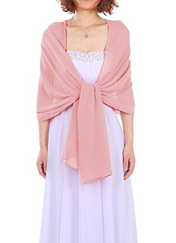 Dressystar AMY333 Chiffon Stola Schal für Kleider in verschiedenen Farben Blush,Rosa, Large