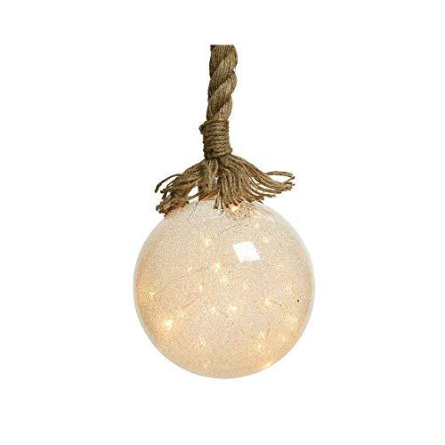 Lumineo Vintage Hanfseil Deko crush Glas Kugel Seil Hängelampe Pendelleuchte Timer Batterie 10 oder 14 cm (groß)