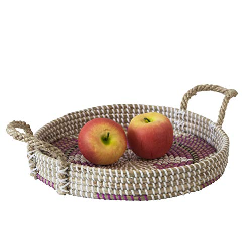 Seagrass Wicker Serving Trays with Handles D13.4' Round | Handcrafted Breakfast, Food, Dish, Coffee, Bread Serving Basket Trays for Home and Restaurants (White Star)