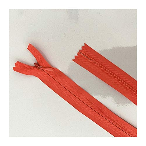 JINGGEGE 50pcs Concealed Zipper 20-60cm (8-24 Inch) Tailor Sewing Process DIY, Nylon Sewing Zip Ring (Color : Rose Red, Size : 35cm)