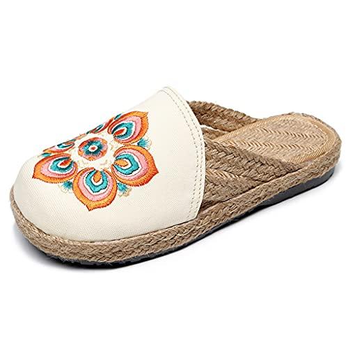 QUNHU Sandalias para Mujer Zapatillas de Verano para Hombres Toe Abierto para Exteriores Paño de Malla Transpirable al Aire Libre Zapatillas de Lino de la Textura Antideslizante Diseño de Suela