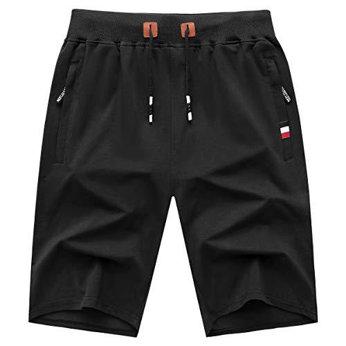 GEEK LIGHTING Mens Shorts Casual Comfortable Workout Shorts Drawstring Zipper Pockets Elastic Waist Black X-Large