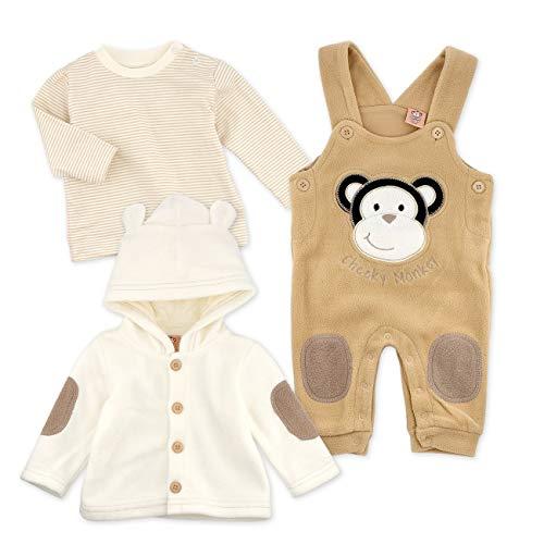 Cheeky Chimp Baby Set Shirt Latzhose Jacke Unisex beige braun | Motiv: Affe | Baby Outfit 3 Teile für Neugeborene & Kleinkinder | Größe: 6-9 Monate...