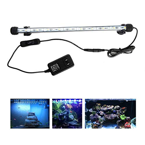 LED Aquarium Light, 15 inches Fish Tank Light White Color Underwater Light Submersible Crystal Glass Lights