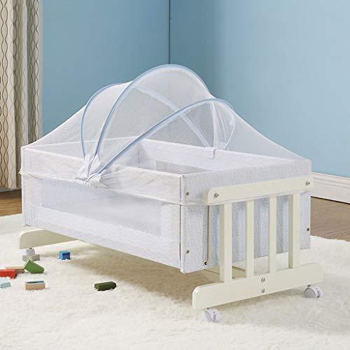 Great Deal! Balance Bouncer Cradle Portable Bassinet Multifunctional Solid Wood Crib Bedside Cots Tr...