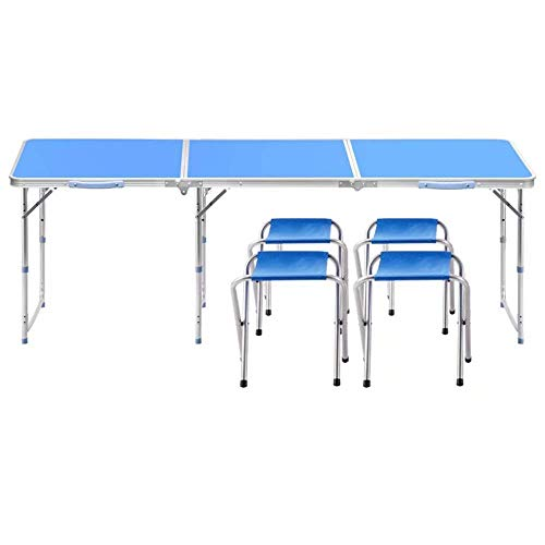 AJH Folding Picnic Table with 4 Chairs, Height Adjustable,Portable and Lightweight,for Outdoor,Camping,Picnic,BBQ,Party and Dining