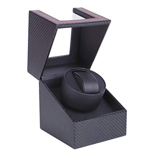BeautySay ABC Caja de bobinado automática para Reloj, Carcasa de Madera y Cuero Negro/Fibra de Carbono, Motor japonés