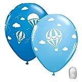 10 Pack 11' Hot Air Balloons Blue Latex Balloons with Matching Ribbons
