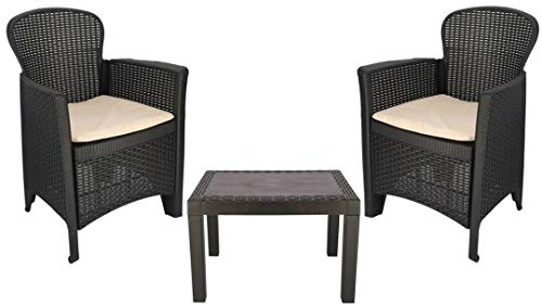 Rattan Garden Table and Chairs Set Set Of 2 Garden Chairs With Cushions & Table Patio Set