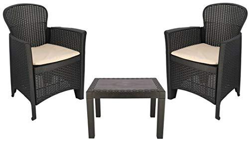 Juego de 2 sillas de jardín de ratán con cojines y mesa