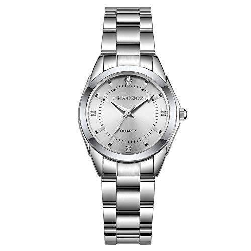 Chronos - Reloj para mujer de acero inoxidable, mecanismo de cuarzo, impermeable, diseño redondo, analógico