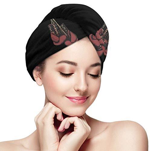 Boxhandschuhe Mikrofaser Haar Handtuch Wrap Dry Hair Hut Badekappe Haar Trocknen Handtuch mit Knopf