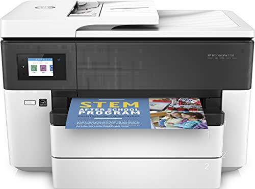 HP OfficeJet Pro 7730 Y0S19A, Impresora Multifunción Tinta de Formato Ancho A3/A4, Imprime, Escanea, Copia y Fax, Wi-Fi, Ethernet, USB 2.0, HP Smart App, Pantalla LCD Táctil, Blanca