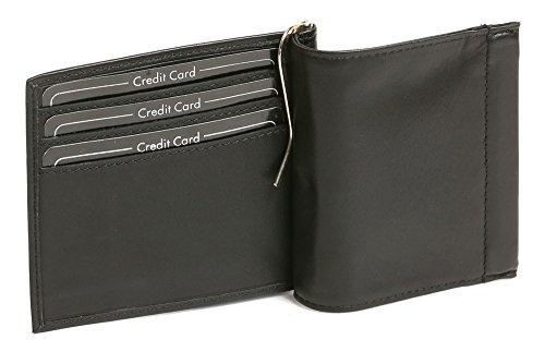 LEAS Cartera con clip para billetes Pinza para billetes con compartimiento para las monedas, Piel auténtica, negro Special Edition''