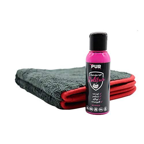 PUR Polish (100ml) Lackversiegelung im Set. Für alle Oberflächen, ob Lack, Chrom, Leder, Kunststoff, Monitore UVM. reinigt, poliert, pflegt & versiegelt. (außer Textil)