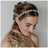 SWEETV Rhinestone Bridal Headpiece Crystal Wedding Headband Silver Hair Accessories for Bride Flower Girl Baby Girl