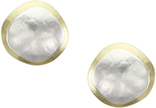 product image for Marjorie Baer Organic Discs Clip on Earring in Brass and Silver