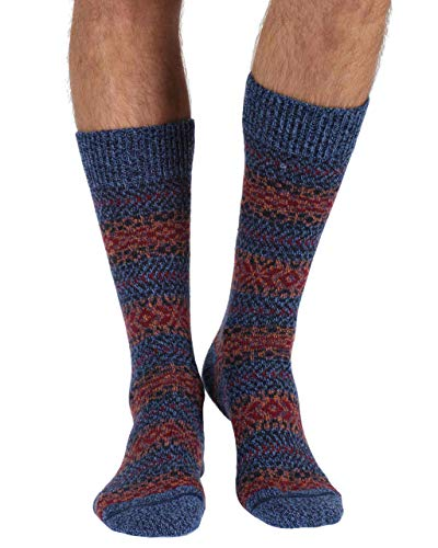Scott Nichol Herren Socken Farne Country Fairisle Stripe Wolle Halbwadensocken, Denim Marl, Größe M