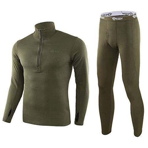 CptBtptPyy Cyclisme Vêtements pour Sports de Plein Air,Combinaisons de sous-vêtements Thermiques pour Hommes, Pantalons Thermiques, Hauts à Manches Longues pour Hommes, Pantalons Thermiques-Vert_XL