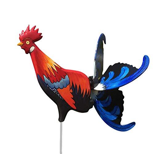 Taloit Molino de viento Rooster, simulación estéreo 3D, escultura de grifo de jardín, gallo vibrante, molinillo de viento para decoración de patio de jardín
