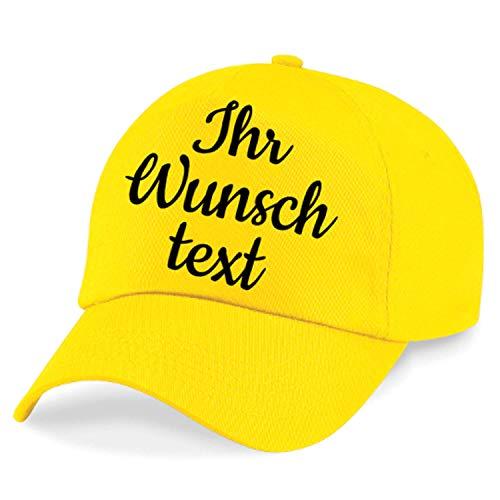 Kappe, Basecap individuell bestickbar mit Namen oder Wunschtext | 26 Farben zur Auswahl Gelb