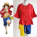 LJYNB Anime japonés One Piece Monkey D. Luffy disfraz Comic con juego de rol Luffy Cosplay ropa con sombrero XL solo disfraz