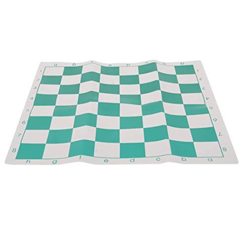 Fliyeong Schachbrett Leicht und einfach zu transportieren Schachbrett PVC Schachbrett Einfaches tragbares Schachbrett für Camping, Picknick, Outdoor-Sportarten, Grün und Weiß Langlebig und nützlich