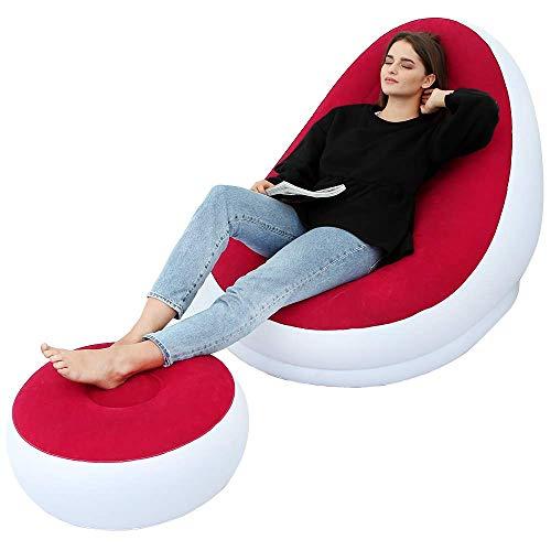 LONEEDY Aufblasbares Freizeit-Sofa-Stuhl und Fußhocker, zusammenklappbar, für den Außenbereich, beflockt, faule Couch (rot)