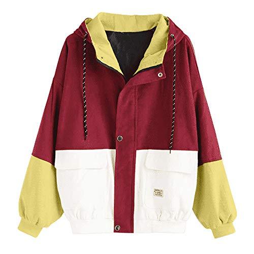 NPRADLA 2018 Herbst Winter Lose Damen Windbreaker Jacke Gefüttert Langarm Frauen Jacke Mantel Cord Patchwork Große Größen (S/52, Rot)
