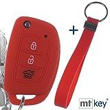 Llave Plegable Funda de Silicona para Llave del Coche + Llavero Rojo Compatible con Hyundai i10 i20 ix25 ix35 i40 Tucson Accent